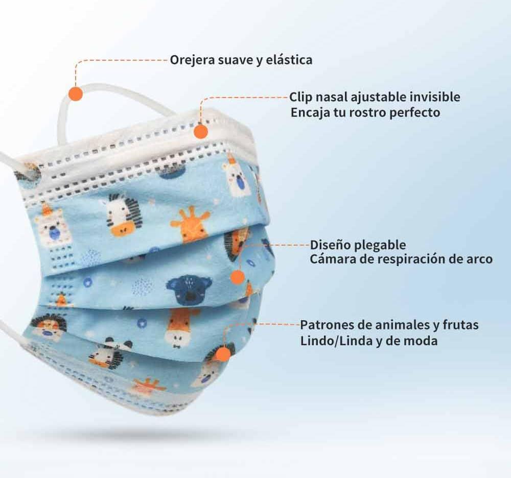 MERRYLIFE-mascarilla facial desechable de 3 capas para niños, cubrebocas Industrial con estampado de unicornio, 50 Uds.