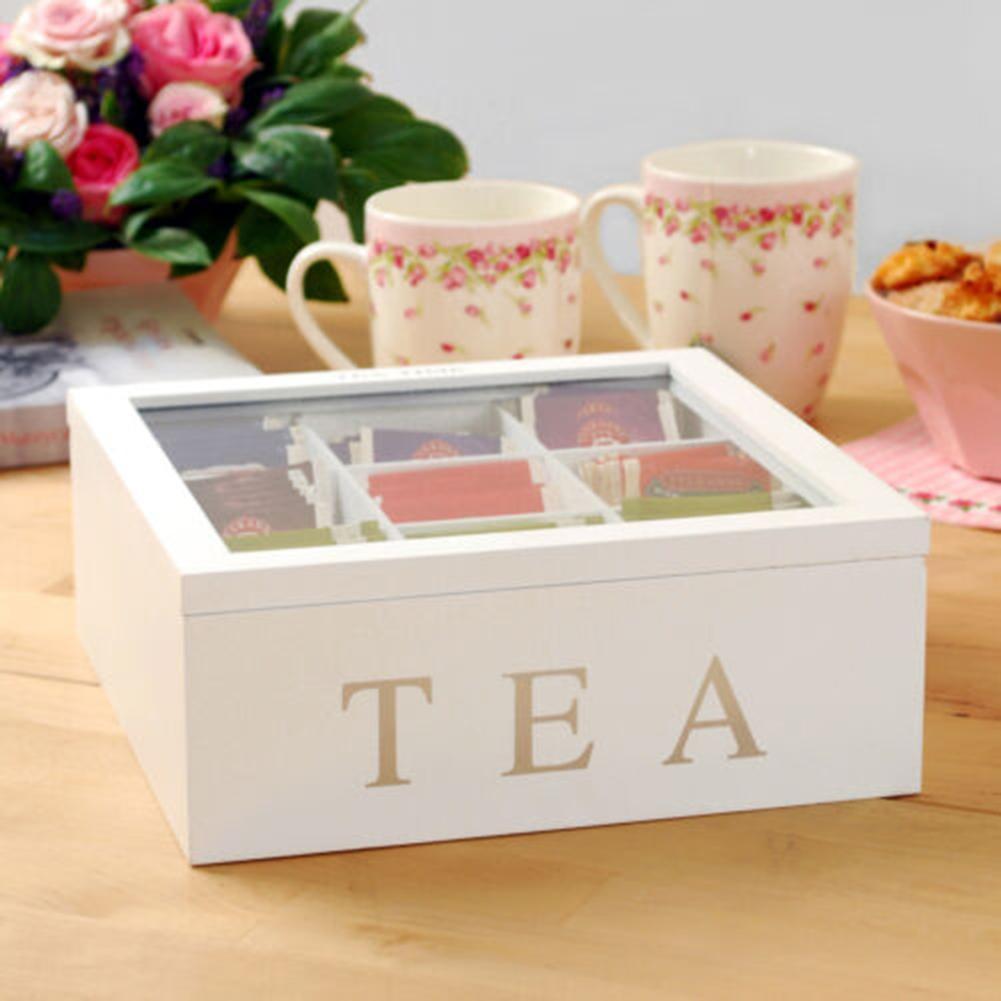 Caja de té de bambú con 9 compartimentos, bolsa de té y café, soporte de almacenamiento, organizador para armarios de cocina, soportes de joyería para el hogar