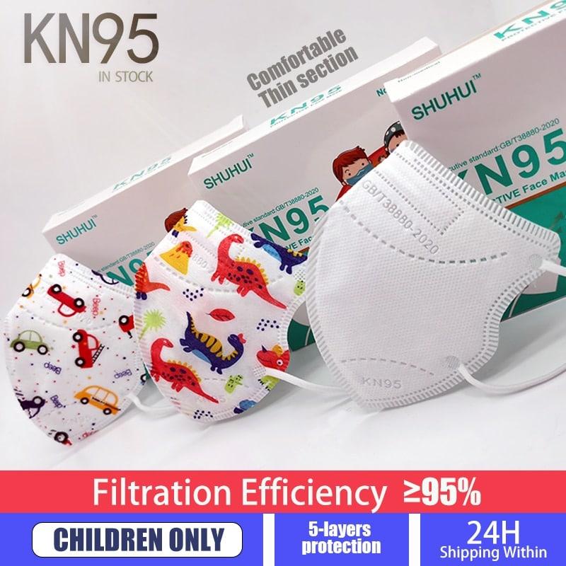 Fit 2-9 años chico FFP2 KN95 Mascarillas más grueso 5 capa niños máscara Anti-niebla protección máscara de boca respirador reutilizable ffp2mask