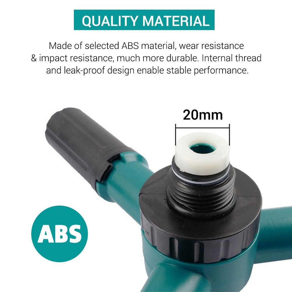 Rociador giratorio de 360 grados con rociador de 3 brazos, enchufe de suelo de plástico, boquilla ajustable de Aspersor de riego, rotativo automático