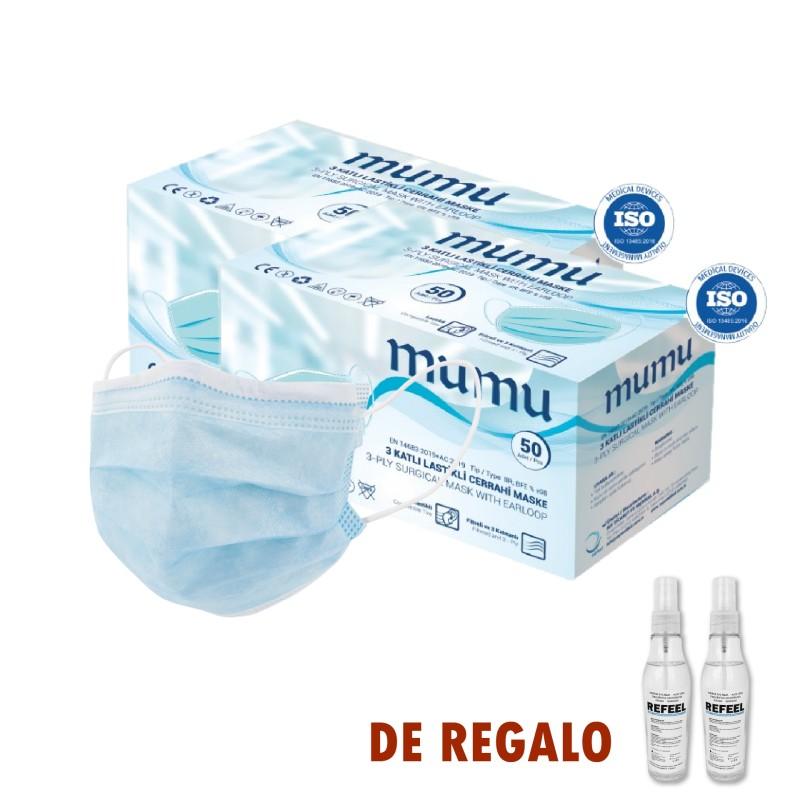 Mascarillas quirúrgicas + gel hidro alcohólico de regalo