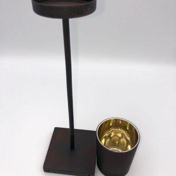 Porta velas metalico y cristal 2