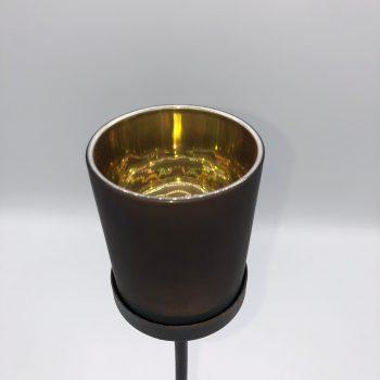 Porta velas metalico y cristal 3